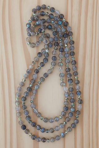 "60"" Extra Long Wraparound Necklace with Labradorite, Grey Quartz & Crystal Beads"