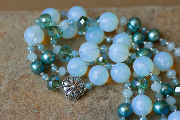 "60"" Opalite, Teal Pearl & Crystal Necklace"