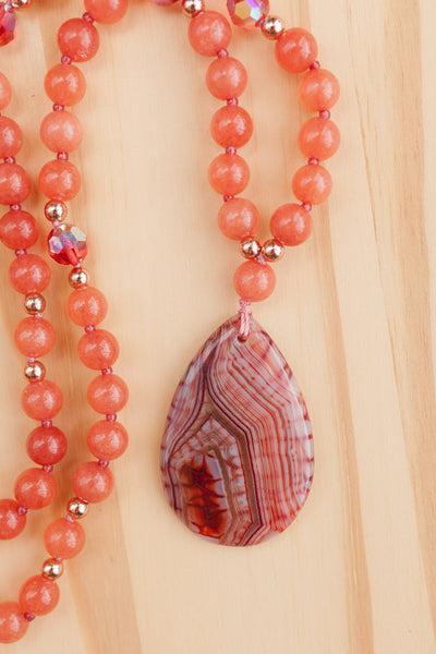 "28"" Long Stripes Agate Pendant Necklace with Orange Jade & Crystal Beads"