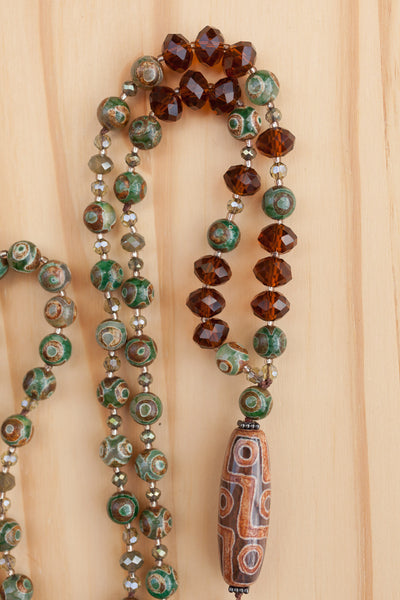 "30"" Long Tibet Agate Column Bead Necklace with Evil Eye & Crystal Beads"