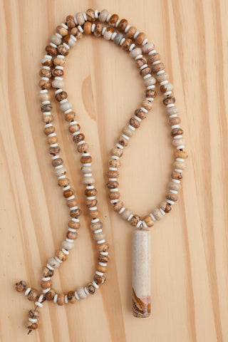 "28"" Long Picture Jasper Pendulum Necklace with Jasper & Antler Rondelle Beads"