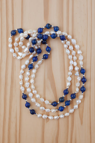 "60"" Extra Long Wraparound Necklace with Blue Lapis Lazuli & White Freshwater Pearl Beads"