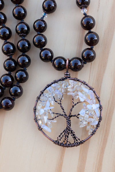 "28"" Long Garnet Beaded Necklace with Opalite Tree of Life"