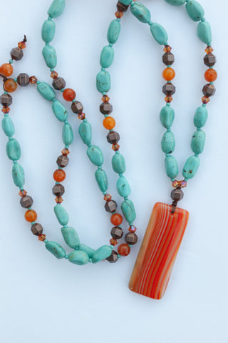 "30"" Long Orange Agate Pendant Beaded Necklace with Turquoise, Agate & Crystal Beads"
