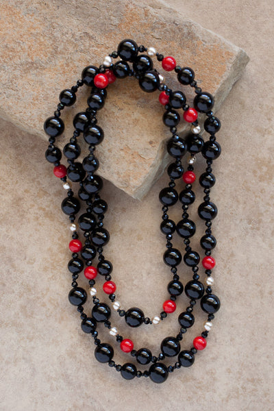 "54"" Black Onyx, Coral & Faux Pearl Necklace"