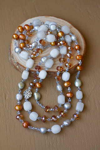 "60"" White Stone, Pearl & Crystal Necklace"
