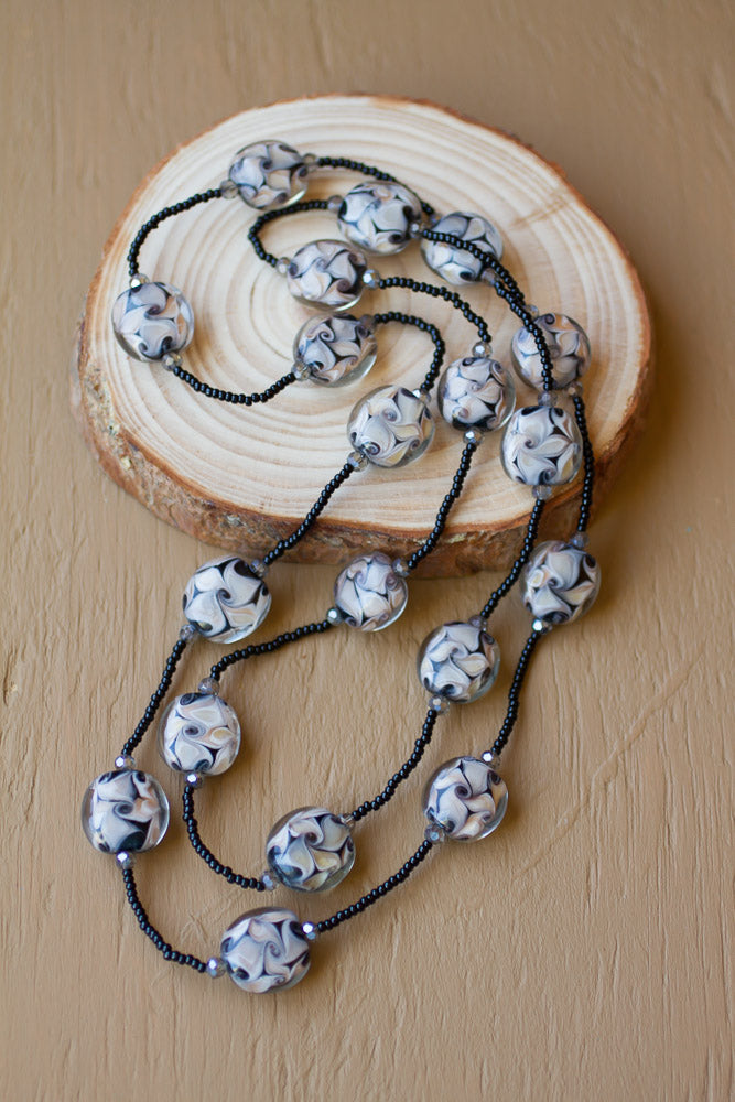 "36"" Black Swirl Art Glass & Crystal Necklace"