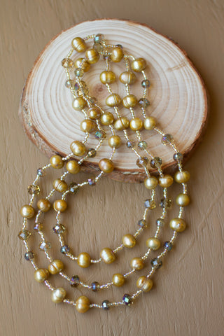 "46"" Dark Champagne Colored Freshwater Pearl & Crystal Necklace"