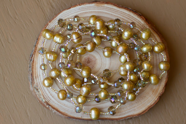 "46"" Long Gold Freshwater Pearl & Crystal Beaded Necklace"