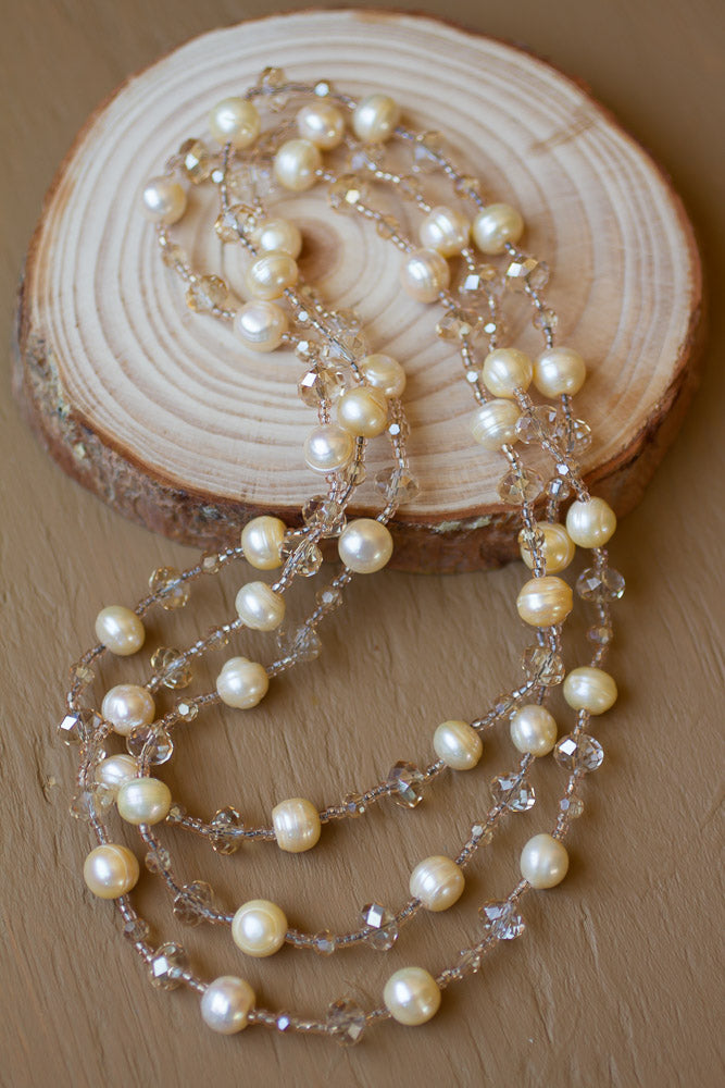 "45"" Light Gold Colored Freshwater Pearl & Crystal Necklace"
