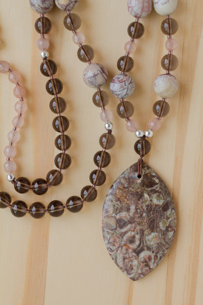 "28"" Long Ayaka Agate Pendant Necklace with Picasso Jasper, Smoky Quartz & Agate Beads"