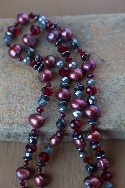 "35"" Cranberry Red Freshwater Pearl, Hemalyke & Crystal Necklace"