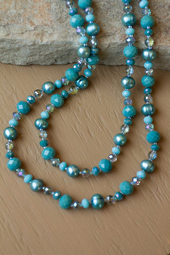 "35"" Long Teal Freshwater Pearl & Crystal Beaded Necklace"