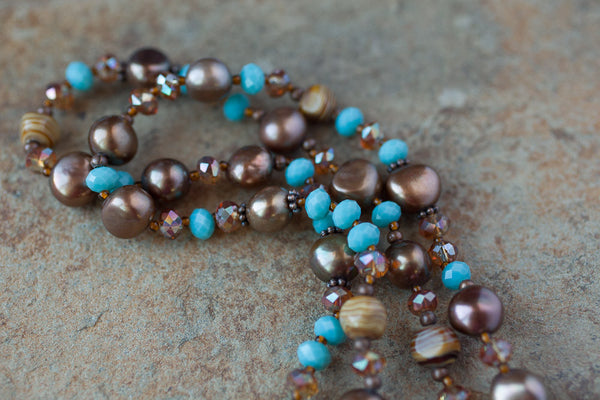 "35"" Chocolate Brown Pearl, Turquoise Crystal & Copper Necklace"