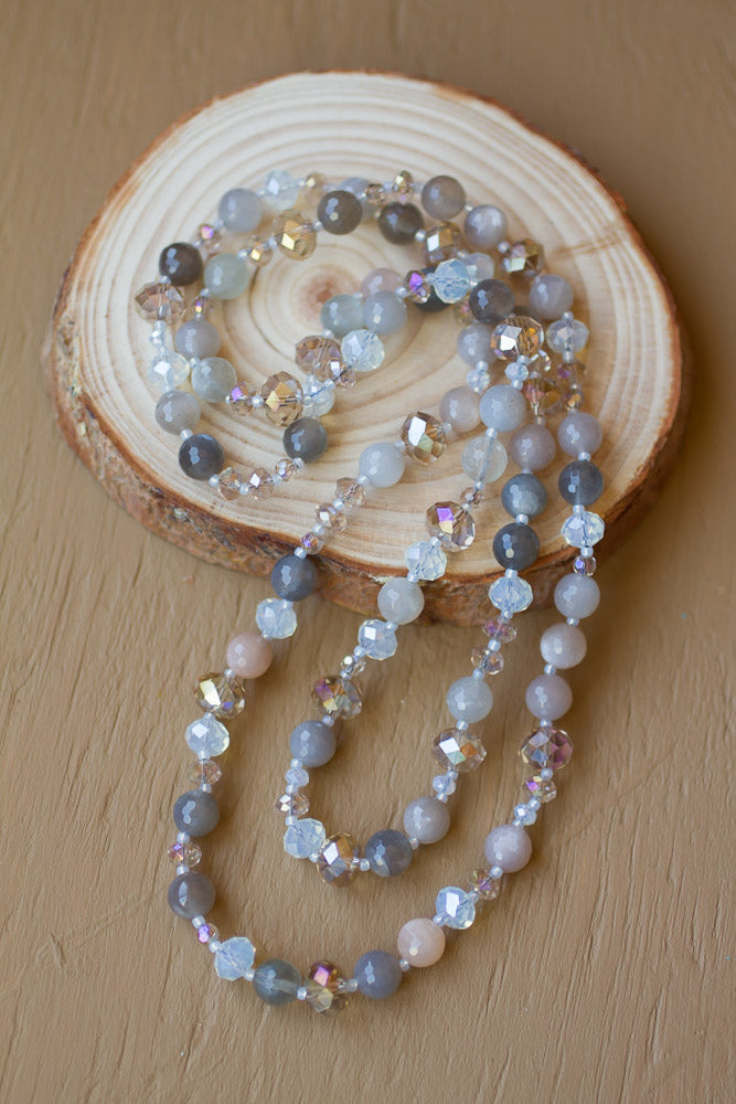 "35"" Multi-colored Moonstone & Crystal Necklace"