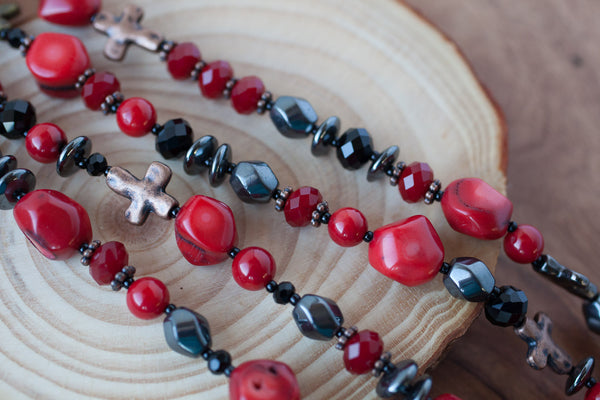 "35"" Red Coral, Hematite & Crosses Necklace"