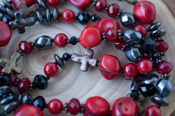 "35"" Long Red Coral, Hematite & Crosses Beaded Necklace"
