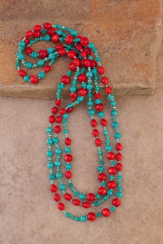 "65"" Turquoise, Coral & Crystal Necklace"