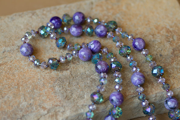 "35"" Purple Charoite & Crystal Beaded Necklace"