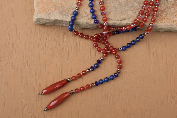 "60"" Long Carnelian, Lapis & Crystal Lariat, Y Beaded Necklace"