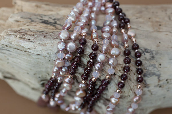 "60"" Garnet, Faux Freshwater Pearl & Crystal Lariat, Y Necklace"