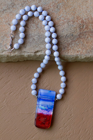 "20"" Dichroic Glass Pendant & Blue Lace Agate Necklace"