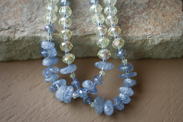 "24"" Denim Blue Cracked Glass Nuggets & Lemon Crystal Necklace"