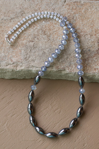 "22"" Hemalyke (Hematite) & Blue Crystal Necklace"