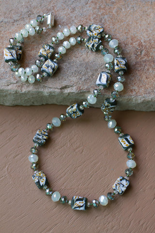 "32"" Long Green Swirl Art Glass & Yellow Crystal Beaded Necklace"
