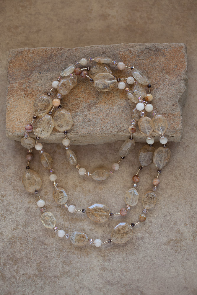"55"" Imitation Quartz, Jasper & Crystal Necklace"
