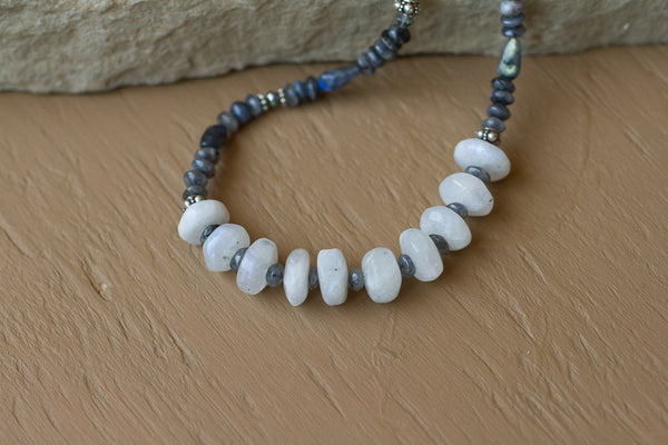"20"" Moonstone & Labradorite Necklace"