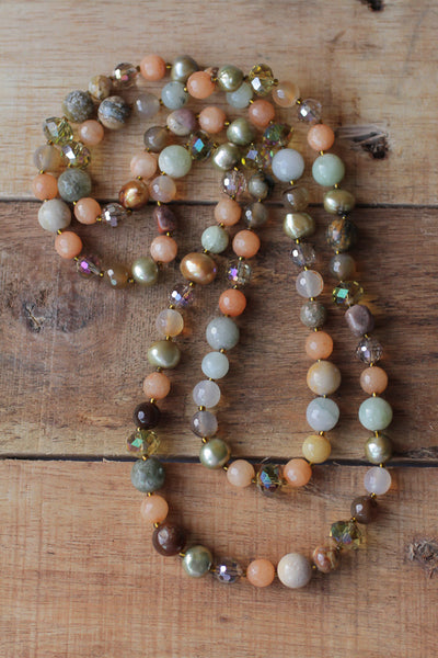 "37"" Peach & Green Multi Gem, Glass & Crystal Necklace"