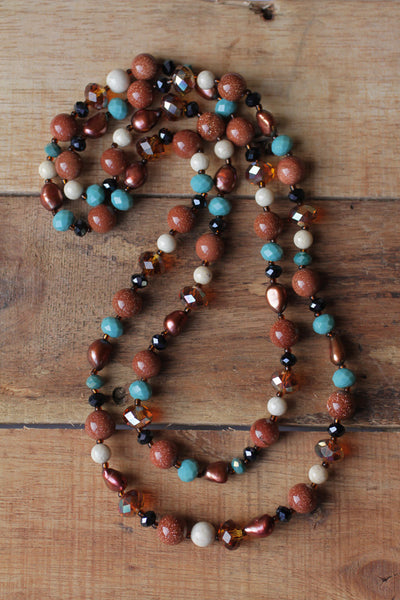 "37"" Long Goldstone, Riverstone, Pearl & Crystal Necklace"