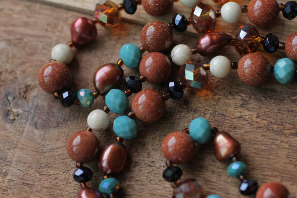 "37"" Goldstone, Riverstone, Pearl & Crystal Necklace"
