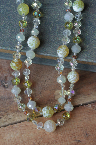 "36"" Yellow/Lemon Cracked Agate & Crystal Necklace"