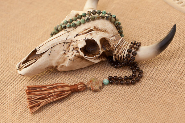 "34"" Long Smoky Quartz, African Turquoise & Amazonite 108 Bead Mala Prayer Tassel Necklace"
