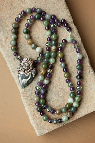 "29"" Jade & Amethyst Goddess Pendant Necklace"
