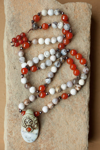 "26"" Long Dendritic Agate Clay Goddess Pendant Beaded Necklace with Carnelian & Agate Beads"