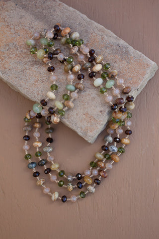 "59"" Long Flower Jade & Crystal Beaded Necklace"