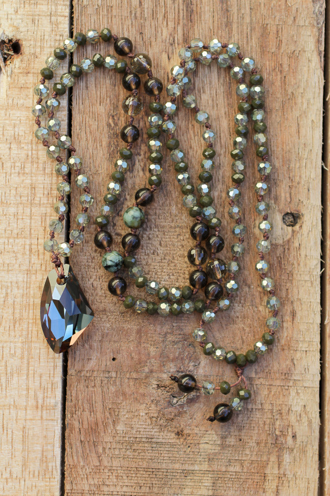 "30"" Swarovski Crystal Pendant Necklace with Smoky Quartz & African Turquoise"