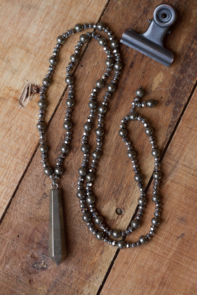 "30"" Pyrite, Hematite & Crystal Pendulum Hand Knotted Necklace"