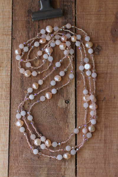"60"" Long Ballet Slipper Pink Faux Pearl, Aventurine & Crystal Beaded Necklace"