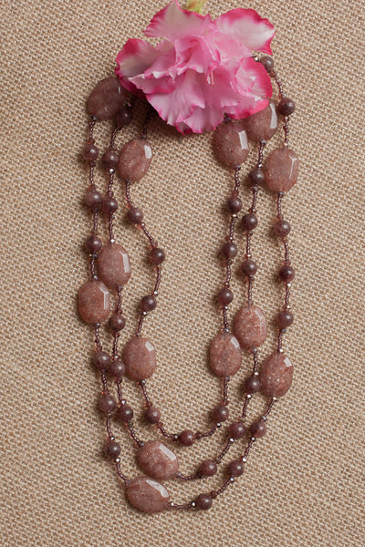 "60"" Strawberry Quartz Beaded Necklace"