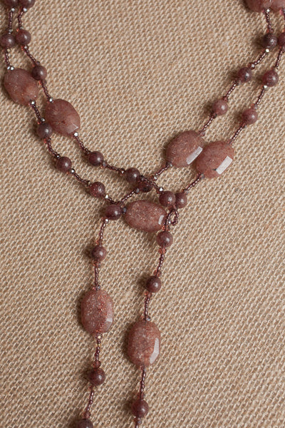 "60"" Muscovite & Crystal Necklace"