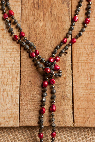 "54"" Long Black Labradorite, Pearl & Crystal Beaded Necklace"