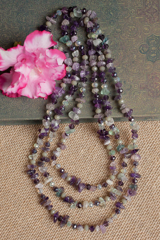 "60"" Amethyst, Flourite & Crystal Necklace"