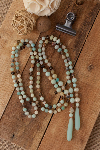 "50"" Long Amazonite, Smoky Quartz & Sea Glass Lariat Y Necklace"