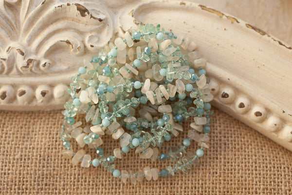 "60"" Long Wraparound Aqua Glass, Quartz & Crystal Necklace"
