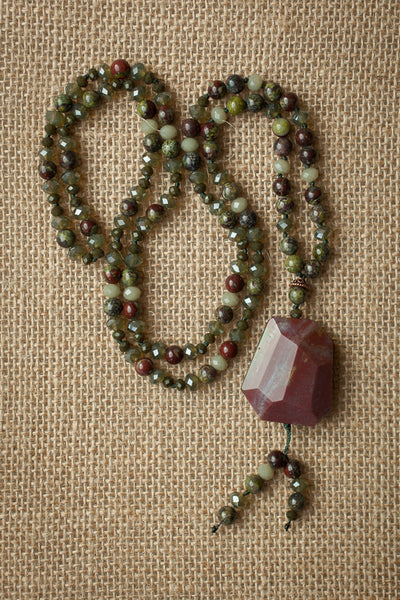 "30"" Long African Bloodstone & Crystal Necklace"