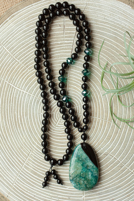 "29"" Long Black/Teal Druzy Geode Pendant Necklace with Black Onyx & Crystal Beads"
